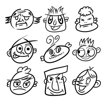 hand draw cartoon head icon