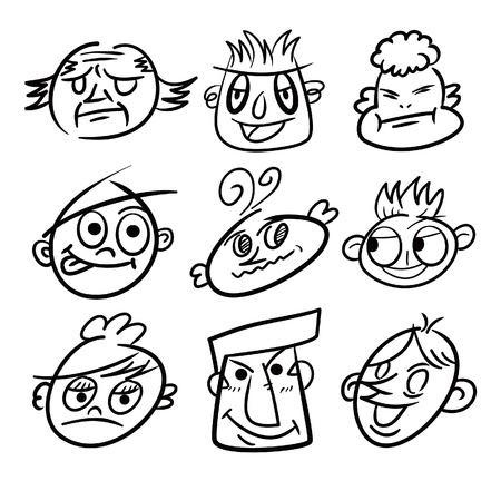 hand draw cartoon head icon Vector