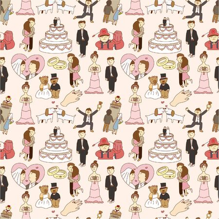 seamless wedding pattern  Vector