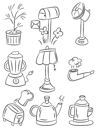hand draw home appliances cartoon icon  Vector