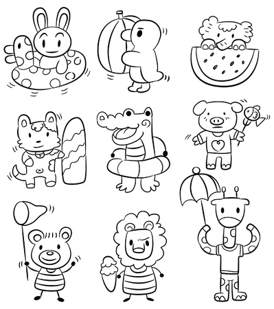 hand draw cartoon summer animal icon Vector