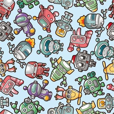 cartoon monster: seamless robot pattern