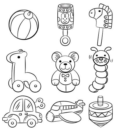 hand draw cartoon baby toy icon  Vector