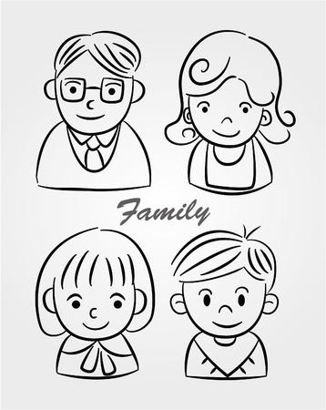 손으로 그리는 만화 가족 아이콘