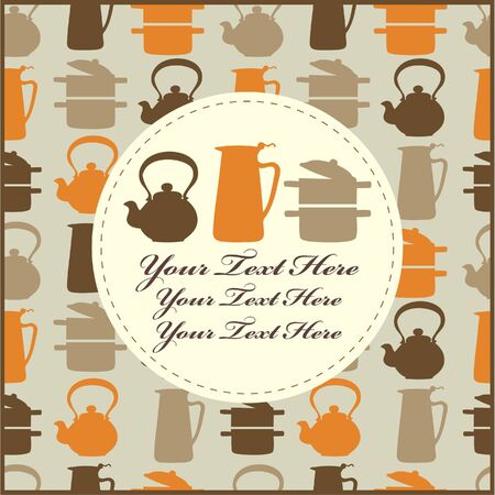 food and drink holiday: cartoon kitchen card
