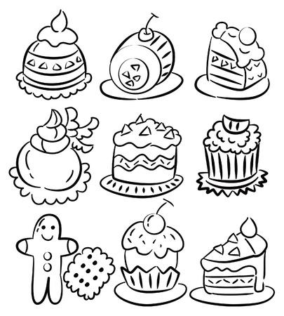 hand draw cartoon cake icon  Vector