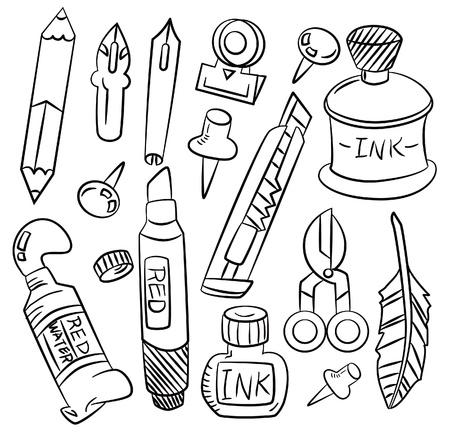 glue: Hand zeichnen Cartoon-Briefpapier-Symbol