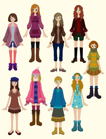 group of objects: Cartoon mooi meisje pictogram