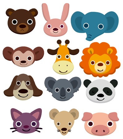 safari animal: cartoon animal head icon  Illustration
