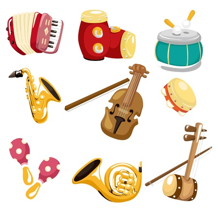instruments de musique: cartoon musical instrument  icon Illustration