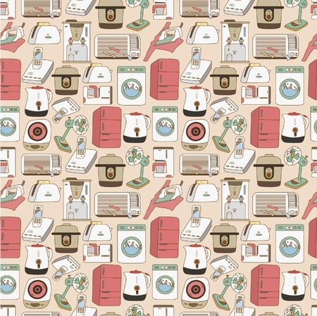 seamless home appliances pattern Vector