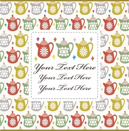 tea kettle: cartoon teapot card Illustration