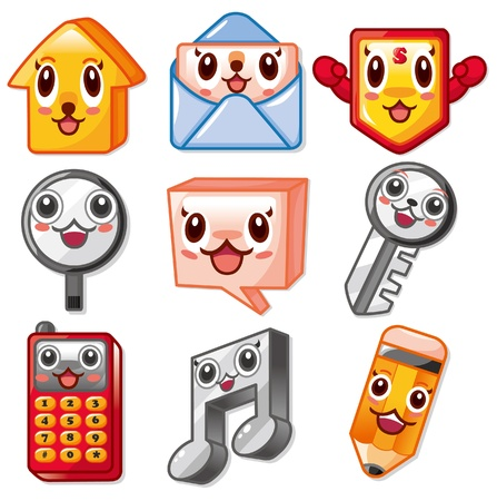 head phones: cartoon cute web icon Illustration