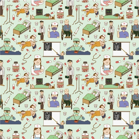 heart surgery: Seamless pattern Hospital Vettoriali
