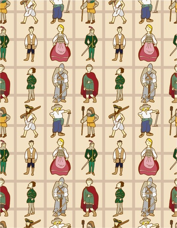 seamless Middle Ages people pattern  Vector