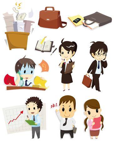 офис: значок мультфильм работника Иллюстрация