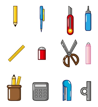 stationery items: cartoon Stationery doodle icon Illustration