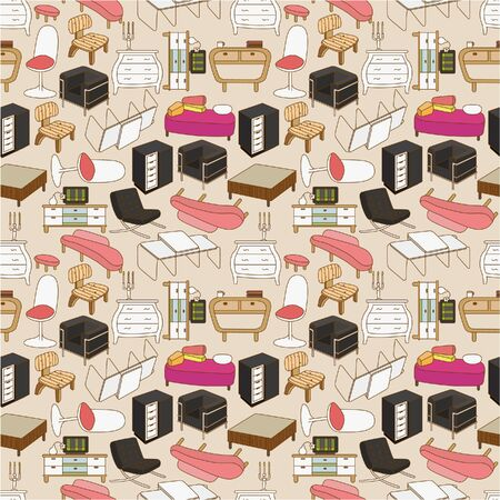 interior lighting: seamless furniture pattern