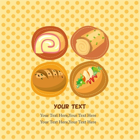cartoon bread card  Vector
