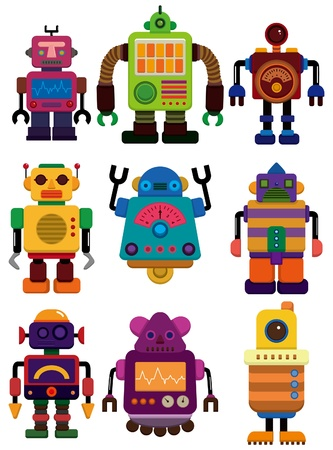 cartoon color robot  icon Vector