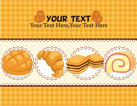 bake: cartoon bread card Illustration