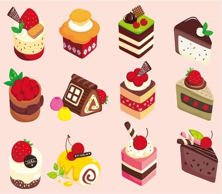 torta panna: icona di torta di cartone animato Vettoriali