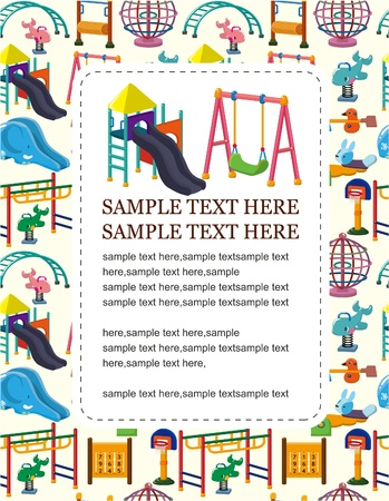 kids playground: cartoon playground card Illustration