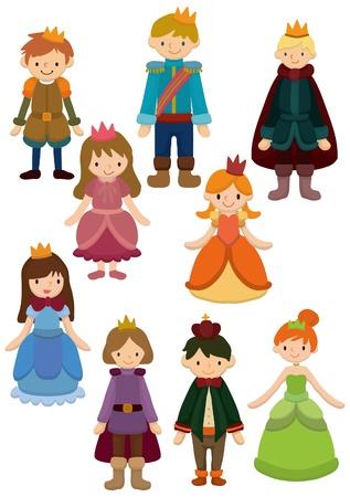 fairy story: Cartoon icona principe e la principessa Vettoriali