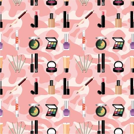 makeup powder: seamless makeup pattern Illustration