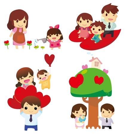 Icono de familia de dibujos animados Foto de archivo - 8986091