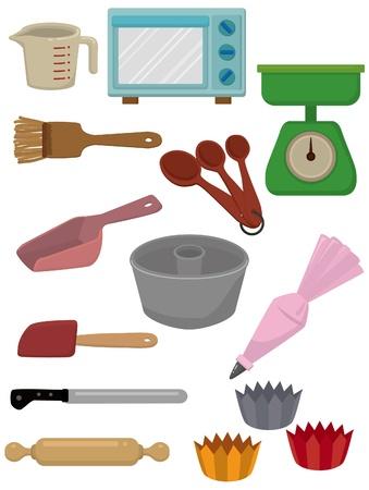 ustensiles de cuisine: Cartoon outil Cuire ic? Illustration