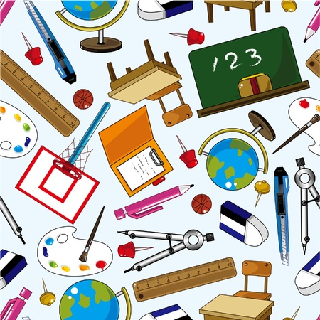 seamless school element pattern Vector