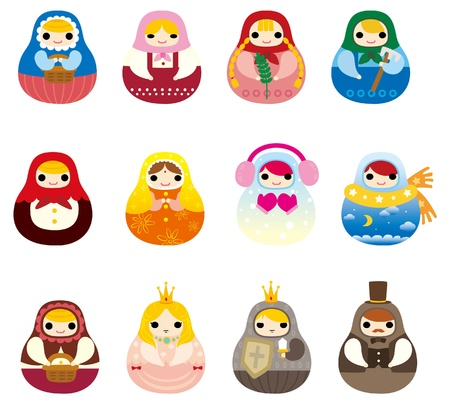 russian culture: cartoon Russian Doll icon