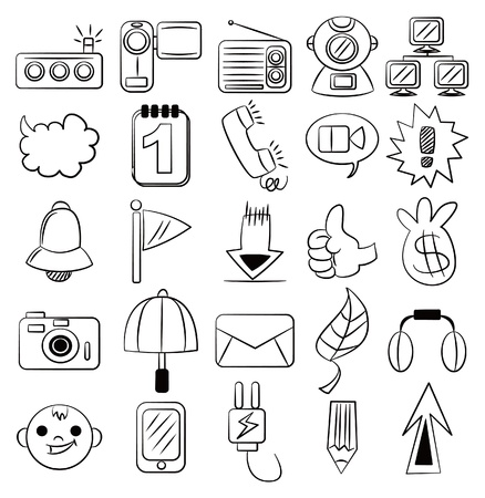 head phones: hand draw cartoon web icon