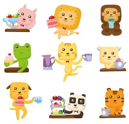 cartoon animal tea time icon  Vector