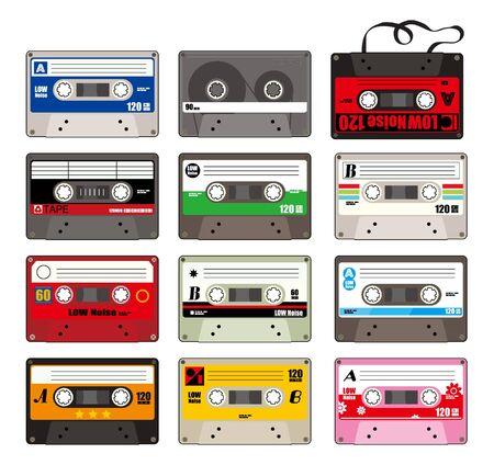 cassette tape: cartoon tape icon  Illustration