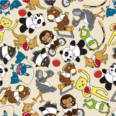 seamless animal sport pattern  Vector