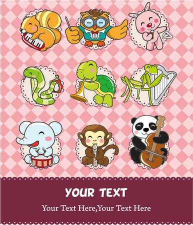 play music: animal play music card  Illustration