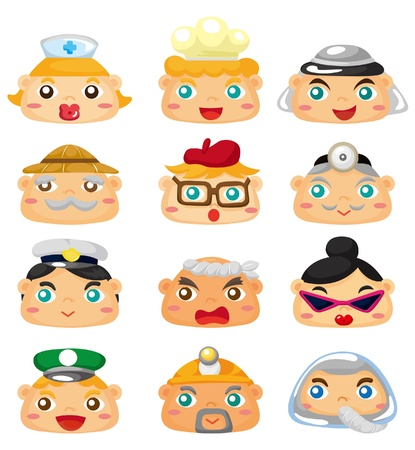 cartoon people face icon Vector