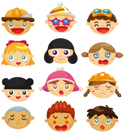 cartoon kid face icon 矢量图像