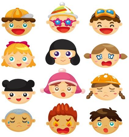 anger kid: cartoon kid face icon Illustration