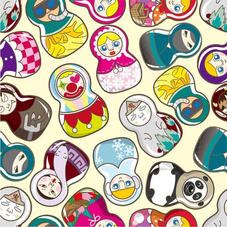 seamless Russian doll pattern Stock Vector - 8984285