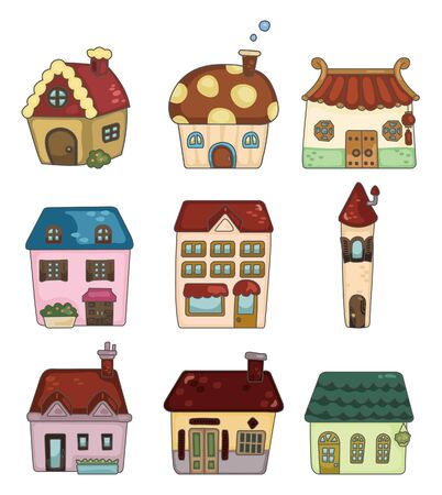 residences: cartoon house icon  Illustration