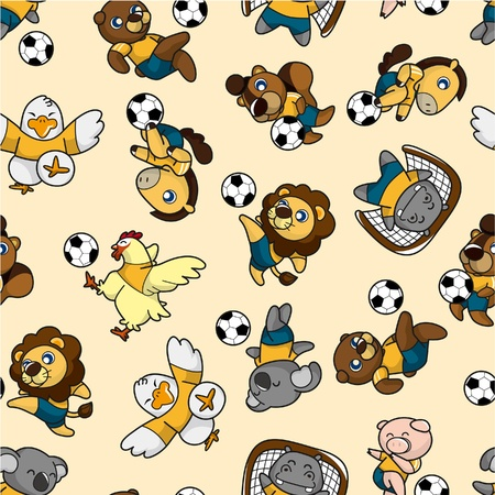 seamless animal soccer pattern  Vector