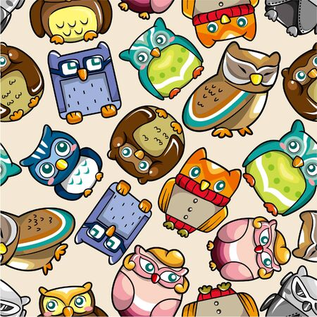 lighthearted: seamless owl pattern