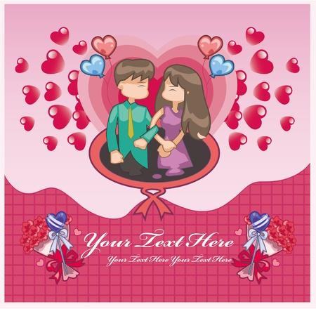 cartoon love card Stock Vector - 9055892