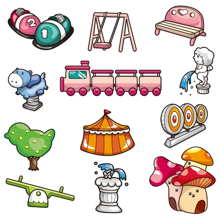 train cartoon: cartoon playground icon Illustration