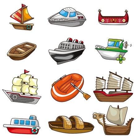 barco caricatura: icono de barco de dibujos animados