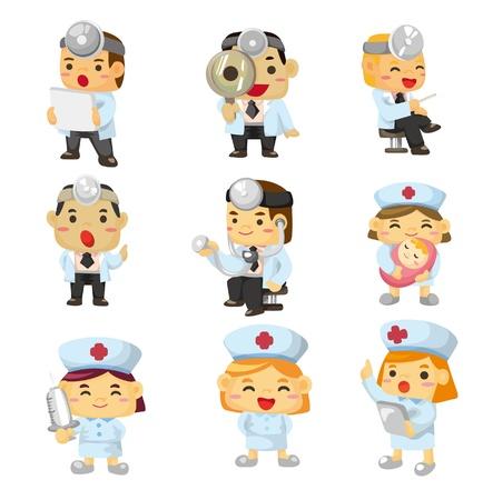enfermero caricatura: icono de hospital de dibujos animados  Vectores