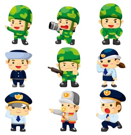 cartoon soldat: Cartoon Polizei und Soldaten Symbol Illustration